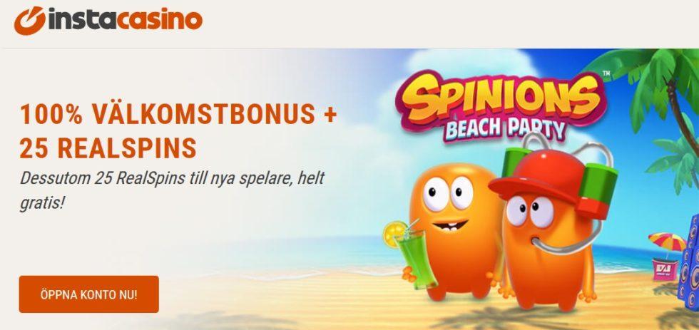 InstaCasino 100% upp till 2 000 kr casino bonus