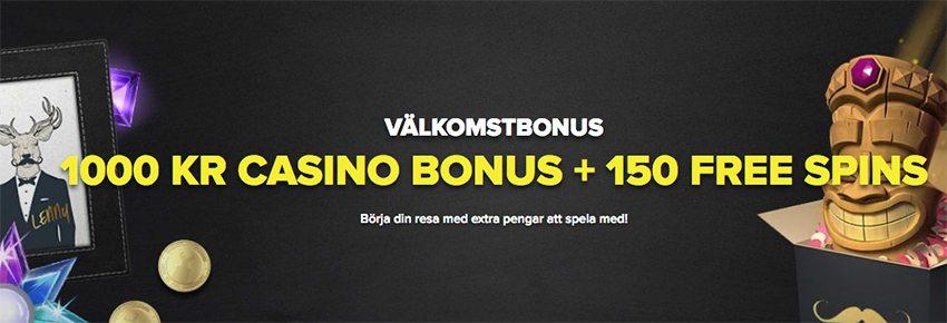 SuperLenny nätcasino 150 free spins i välkomstbonus