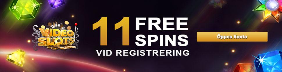 Få 11 free spins gratis och utan insättning hos VideoSlots nätcasino