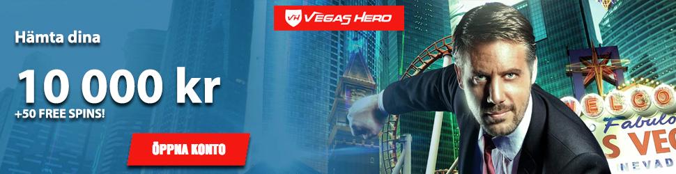 Hämta dina 10000 kr och 50 freespins hos Vegas Hero Nätcasino