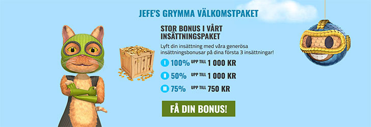 CasinoJEFE välkomstpaket ger dig upp till 2 750 kronor
