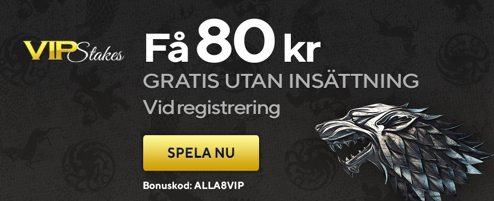 VIP Stakes nätcasino 80 kronor utan insättning