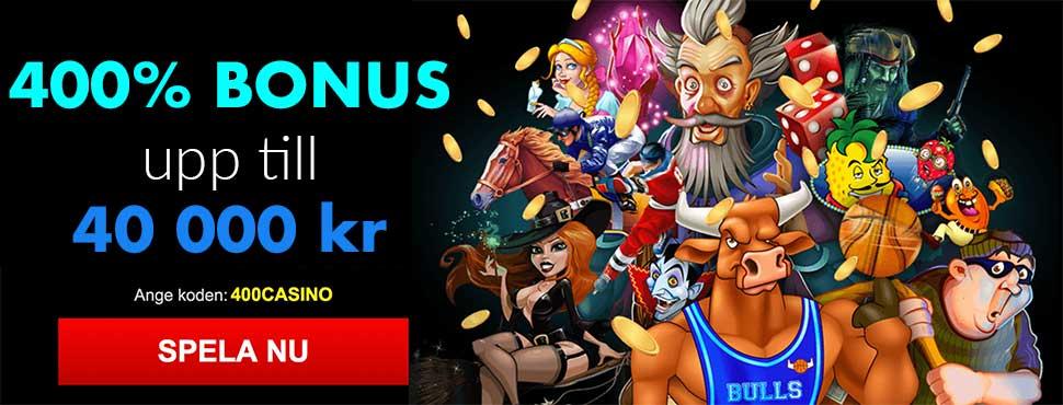 Sloto Cash casino bonus ger dig 400% till 40 000 kr