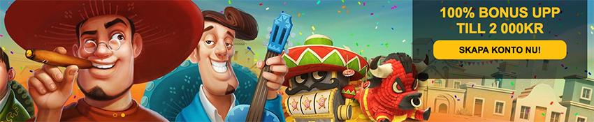 Spin Fiesta nätcasino välkomstbonus upp till 2 000 kr