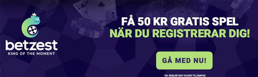 Betzest casino ger dig 50 kr gratis när du registrerar dig